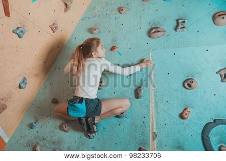 Little Girl Climbing Indoor