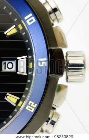 Details Of A Black And Blue Men's Watch Isolated