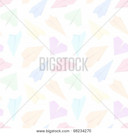 Seamless pattern with colored paper planes