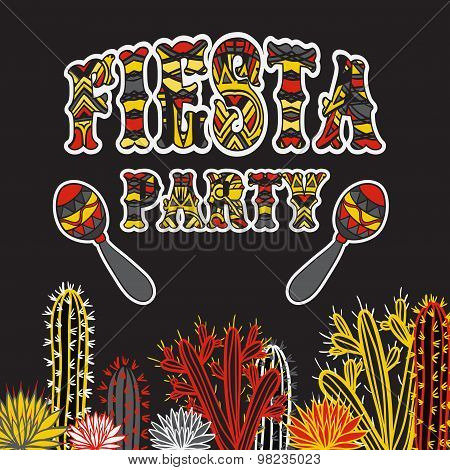 Mexican Fiesta Party Invitation with maracas, cactuses and colorful ethnic tribal ornate title. Hand