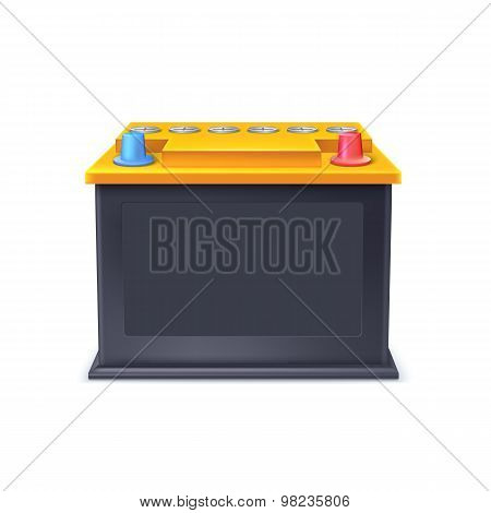 Battery car on white background