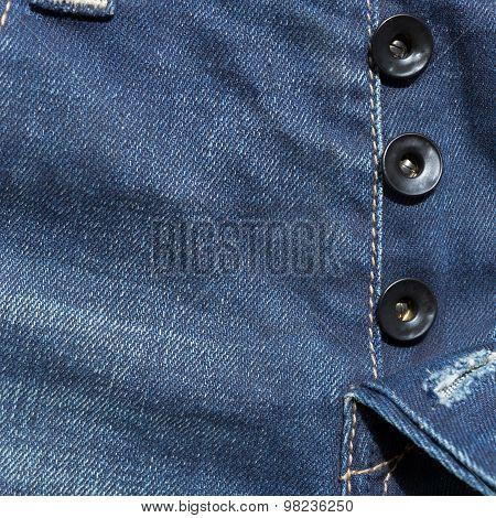 Blue Denim Jeans Pants With Black Button