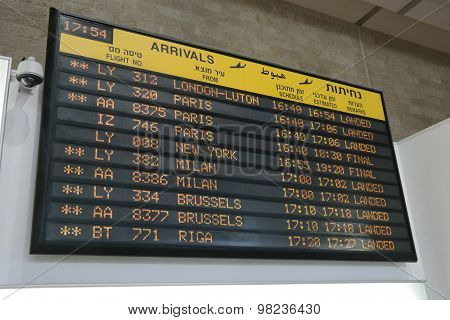 Flights arrival information board
