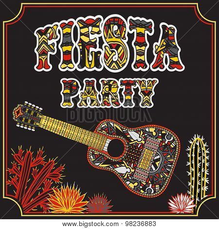 Mexican Fiesta Party Invitation with Mexican guitar, cactuses and colorful ethnic tribal ornate titl
