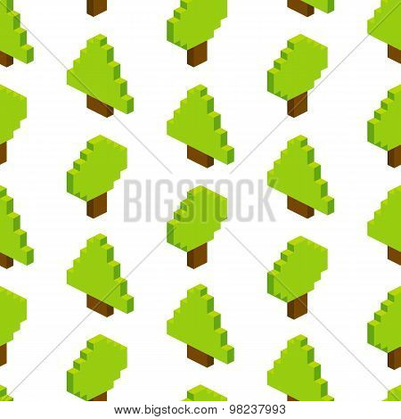 Seamless Background Of Isometric Trees. Vector Illustration In Pixel-art Style