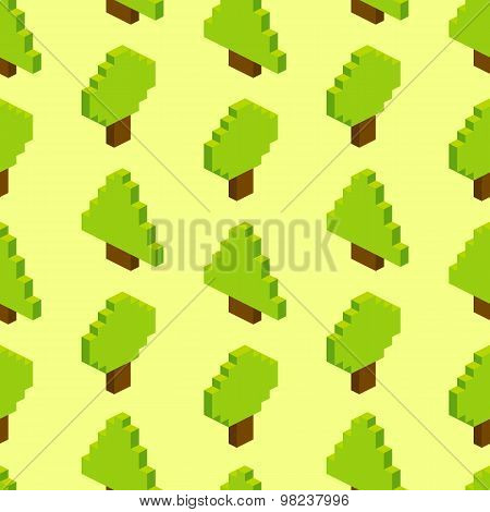 Seamless Background Of Isometric Forest. Vector Illustration In Pixel-art Style