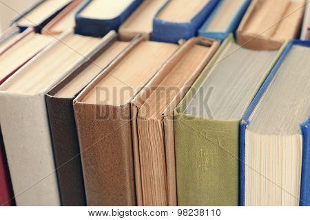 Heap of books close up