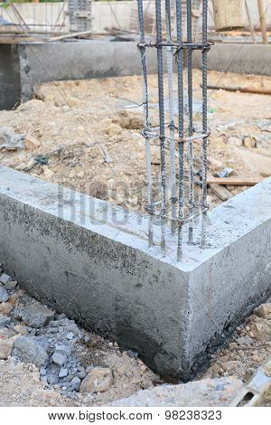 Cement Pouring Structure At Construction House