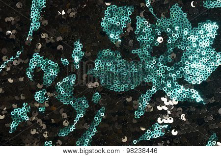 Black And Green Flower Sequins Pattern.