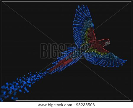 Scarlet Macaw Flying - Illustration - Eps 10