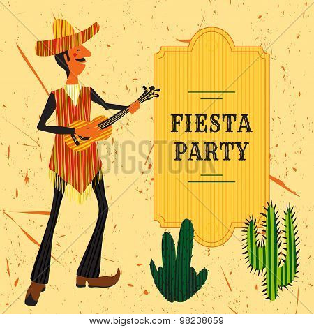 Mexican Fiesta Party Invitation with Mexican man playing the guitar in a sombrero and cactuses. Hand