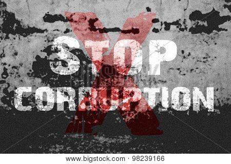 Text For Stop Corruption On Grunge Background