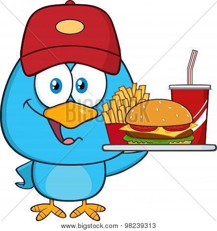 Cute Blue Bird Character Holding A Platter With Burger