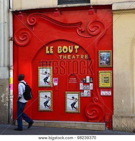 PARIS, FRANCE - SEPTEMBER 10, 2014: Paris Montmartre - Facade of Le Bout Theatre