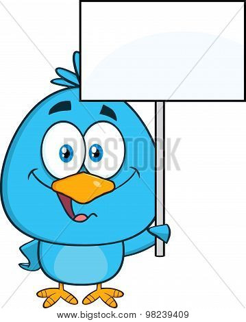 Cute Blue Bird Character Holding Up A Blank Sign