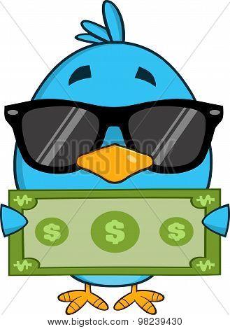 Cute Blue Bird Character Showing A Dollar Bill