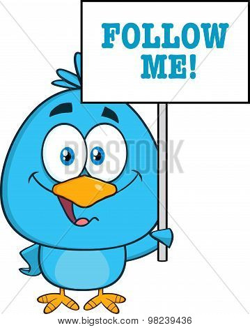 Blue Bird Character Holding Up A Blank Sign With Text
