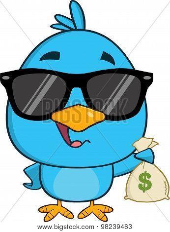 Cute Blue Bird With Sunglasses Cartoon Character