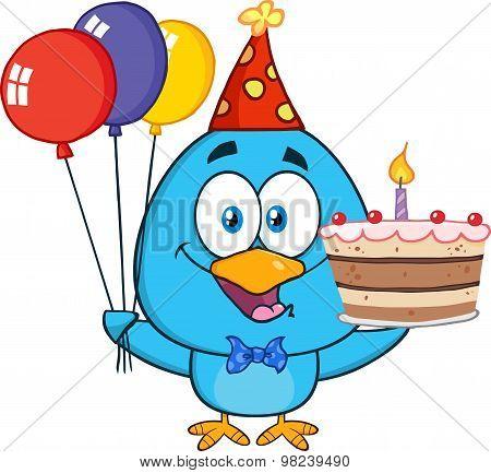 Blue Bird Cartoon Character Holding Up A Birthday Cake