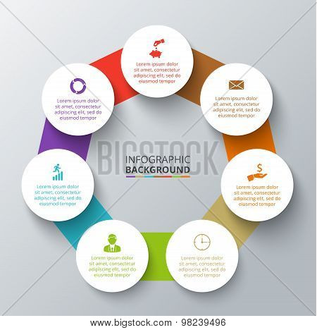 Vector heptagon with circles for infographic.