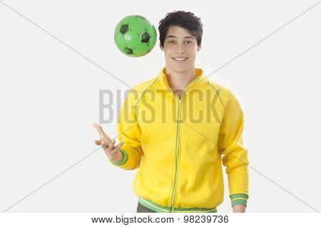 Young Man Throwing A Football Ball.