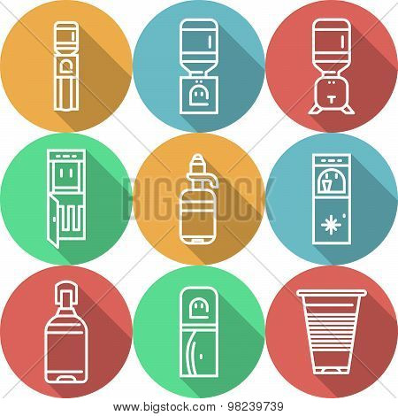 Items for water coolers colored vector icons