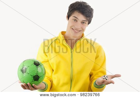 Young Man With Two Football Balls.
