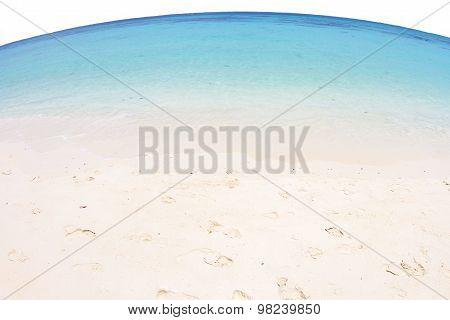 Fisheye View Of Sea And Beach At Koh Rok, Krabi, Thailand