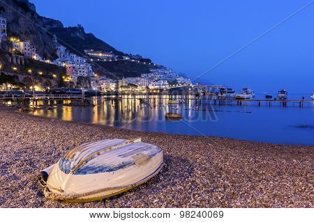 View On Amalfi In The Evening, Italy