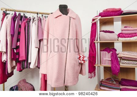 Dressing Closet With Pink Clothes Arranged On Hangers And Shelf, A Coat On A Mannequin.