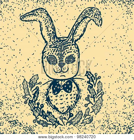Sketch Vintage Rabbit - Sketch Vintage Bunny Illustration - Eps 10