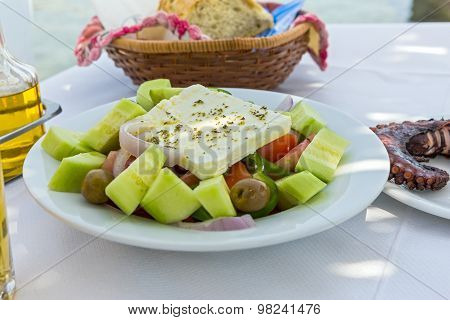 Plate Of Greek Salad With Feta Cheese