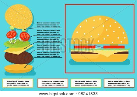 Sandwich burger hamburger ingredients structure setup food infographics icon symbol vector illustrat