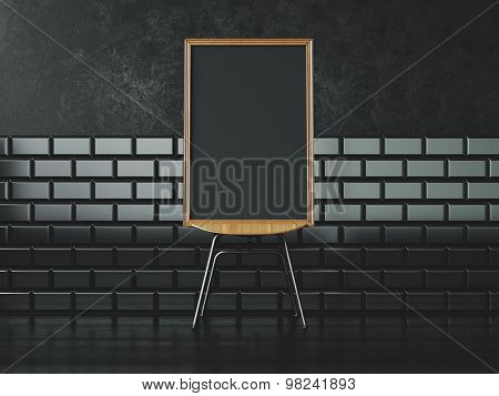 Black poster on the chair. 3d rendering