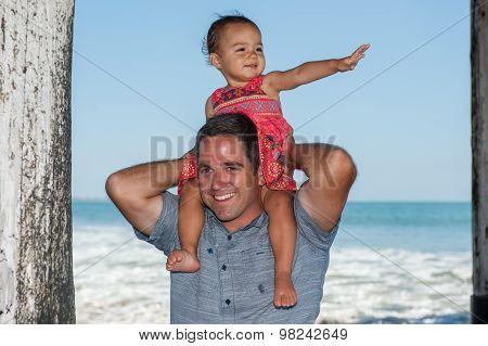 Fun ride on shoulders