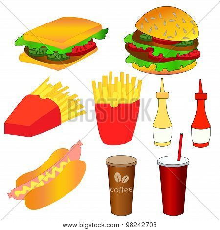 Fast food icons set. Colorful vector illustration.