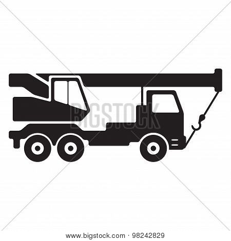 Truck crane. Black silhouette. Construction icon.
