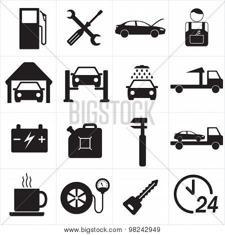 Car service icon set. Vector Illustration.