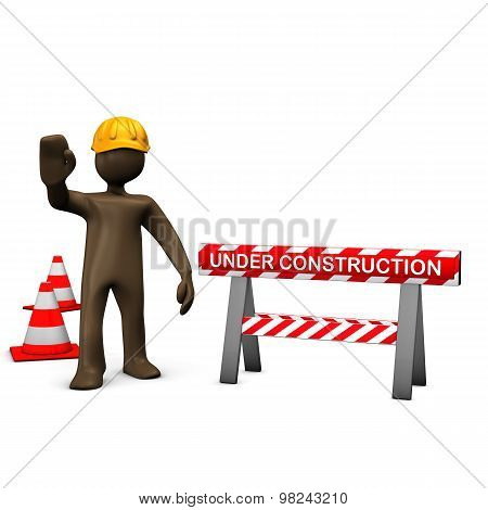 Brown Figurine, Construction Worker, Under Construction