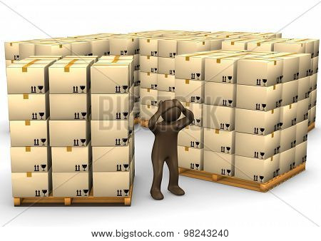3D Illustration, Desperate Brown Figurine, Packages On Pallets, Storage