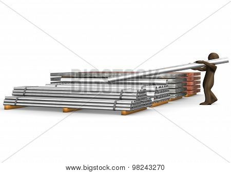 3D Illustration, Brown Figurine With Steel Pipe