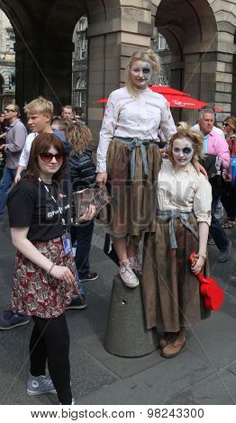 EDINBURGH - AUGUST 8: Members of Fourth Monkey publicize their show Grimm's Tales during Edinburgh Fringe Festival on August 8th, 2015 in Edinburgh, Scotland