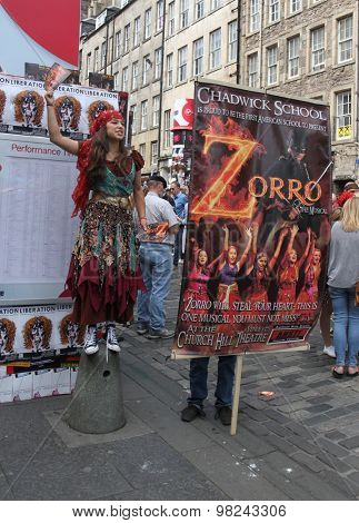 EDINBURGH - AUGUST 8: Members of Chadwick School publicize their show Zorro The Musical during Edinburgh Fringe Festival on August 8th, 2015 in Edinburgh, Scotland