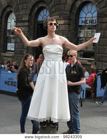 EDINBURGH - AUGUST 8: Members of Moving Dust publicize their show This Much during Edinburgh Fringe Festival on August 8th, 2015 in Edinburgh, Scotland