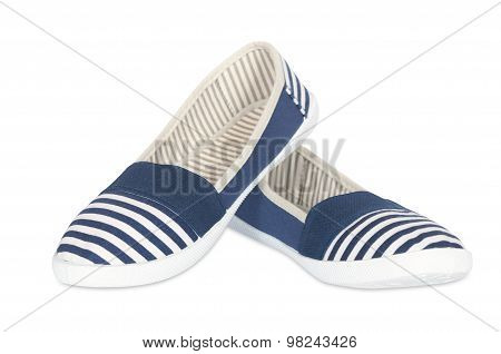 female striped ballet shoes