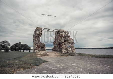 Ruins Of The Saint George Church. Salaspils Town In Latvia