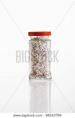 Shallots In Glass Jar On White Background