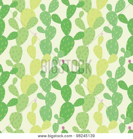 Opuntia cactus seamless pattern
