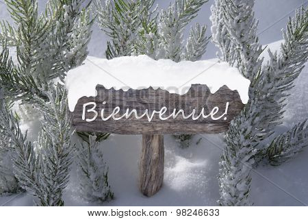 Christmas Sign Snow Fir Tree Bienvenue Means Welcome