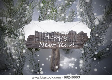 Christmas Sign Snowflakes Fir Tree Text Happy New Year